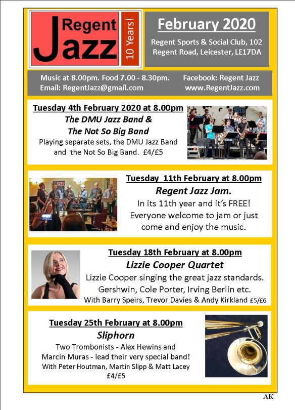 regent Jazz programme February 2020